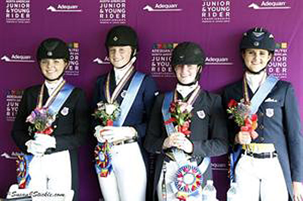 Dressage Young Rider USA Region 7 team gold medalists Teresa Adams, Ariel Thomas, Jamie Pestana, and Jaclyn Pepper. © 2013 SusanJStickle.com