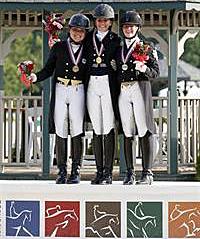 Dressage Young Rider Individual medalists: Devon Wycoff, Ayden Uhlir and Jamie Pestana. ©2013 SusanJStickle.com