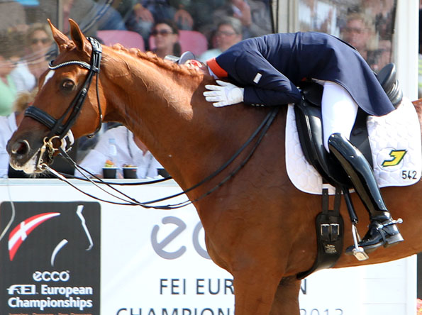 Adelinde Cornelissen and Jerich Parzival who joked about her going off course as she did at the Europeans in Rotterdam two years ago and won gold then. ©2013 Ken Braddick/dressage-news.com