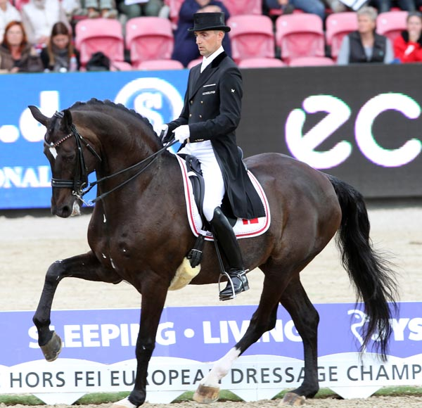 Andreas Helgstrand on Akeem Foldager at the 2013 European Championships. © Ken Braddick/dressage-news.com