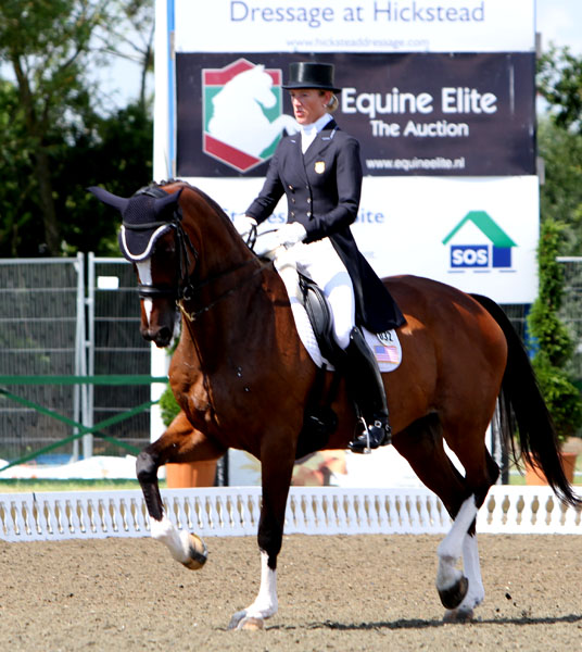 "Arlene ""Tuny"" Page and Alina in the 2013 Hickstead Nations Cup competition. © Ken Braddick/dressage-news.com"