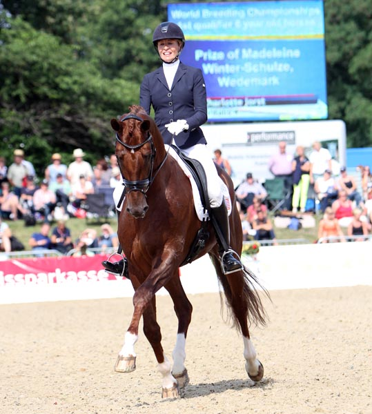 Vitalis ridden by Charlotte Jorst for the United States entry in the World Young Horse Championships in Germany in 2013. ©  Ken Braddick/dressage-news.com