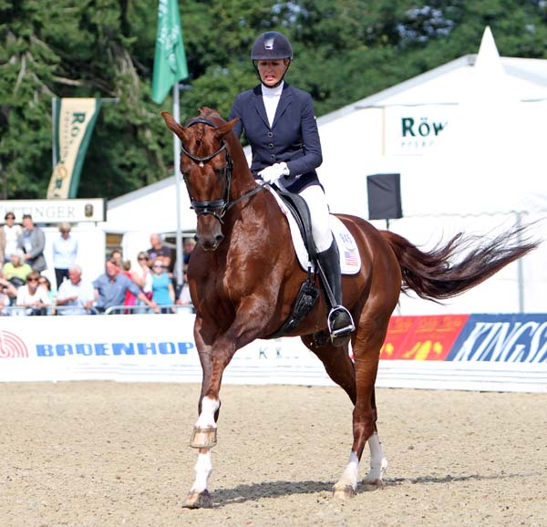Charlotte Jorst and Vitalis in the World Young Horse Chamionship 6-year-old qualifier. © 2013 Ken Braddick/dressage-news.com