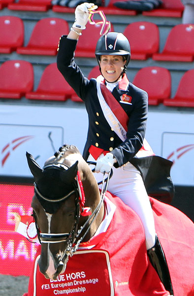 Charlotte Dujardin on Valegro with gold medal at the European Championship. © 2013 Ken Braddick/dressage-news.com