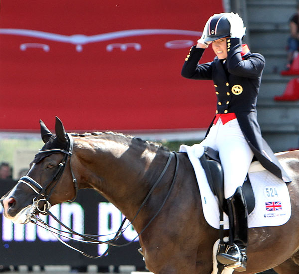Charlotte Dujardin on Valegro showing how she felt about going off course as did all three medalists in the 2013 European Championship Grand Prix Special. © Ken Braddick/dressage-news.com