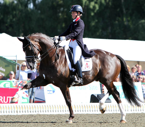 Valegro ridden by Charlotte Dujardin in showing off their extended trot. © 013 Ken Braddick/dressage-news.com