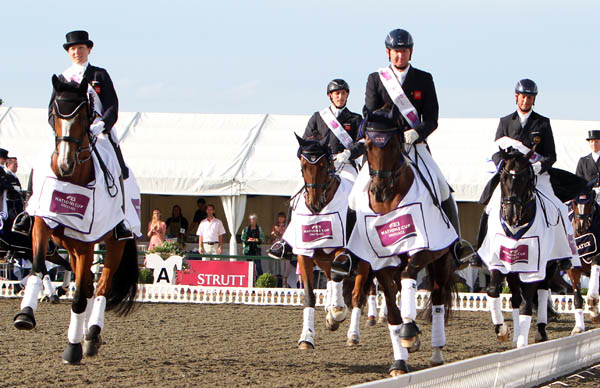 Victorious Great Britain team at the Nations Cup in Hickstead, England.© 2013 Ken Braddick/dressage-news.com
