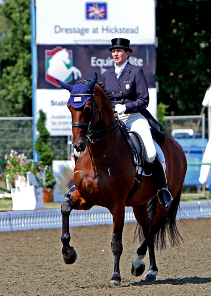 Kathleen Raine and Breanna competing at the Hickstead Nations Cup. © 2013 Ken Braddick/dressage-news.com