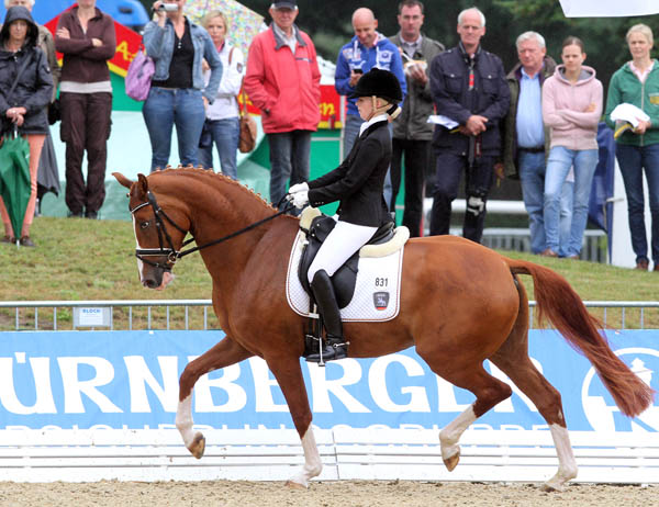 Scara Boa, 5-year-old Hanoverian mare ridden by Germany's Lena Stegemann  in their first World Yung Horse Championships. © 2013 Ken Braddick/dressage-news.com