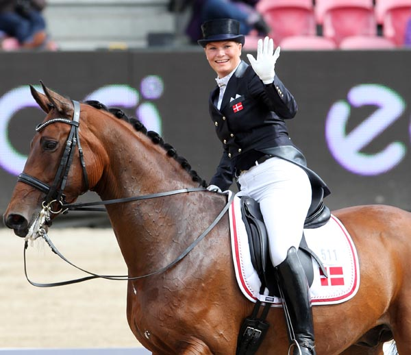 Lone Bang Larsen on Fitou L helped Denmark to second place in the standings after the first day of the team competition at the European Championships. © 2013 Ken Braddick/dressage-news.com
