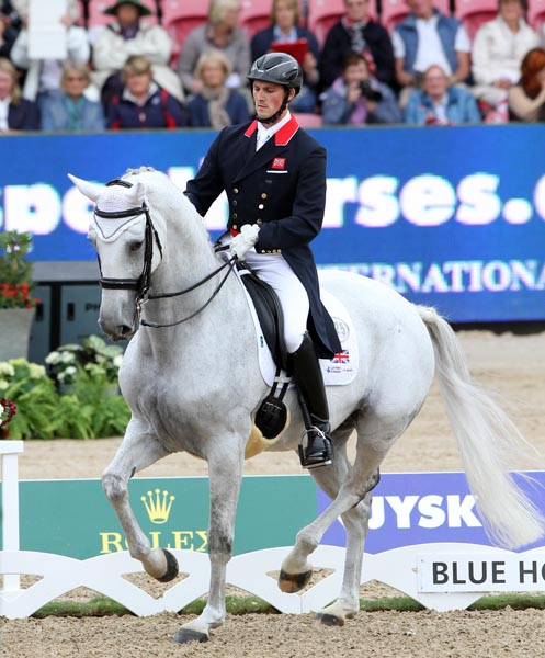 Great Britain's Michael Eilberg and Half Moon Delphi in their first championship at the Europeans. © 2013 Ken Braddick/dressage-news.com