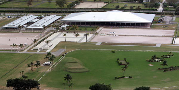 The Van Kampen covered arena as a centerpiece of the Global Dressage Festival grounds. © Ken Brsddick/dressage-news.com