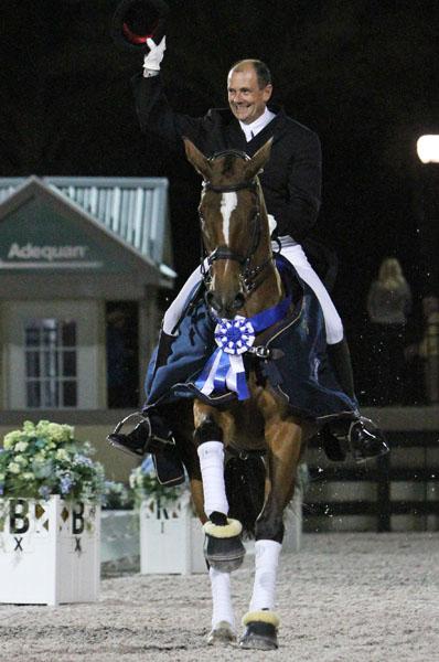 Danish Olympian Lars Petersen won the 2013 GDF CDI5* on Mariett. ©2013 Ken Braddick/dressage-news.com