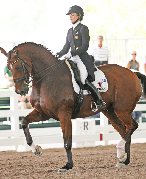 Lisa Wilcox and Denzello. © 2013 Ken Braddick/dressage-news.com