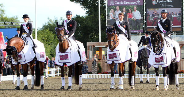 Great Britain's team that won the Nations Cup at Hickstead, England, the last of the four events in the inaugural series this year. © 2013 Ken Braddick/dressage-news.com