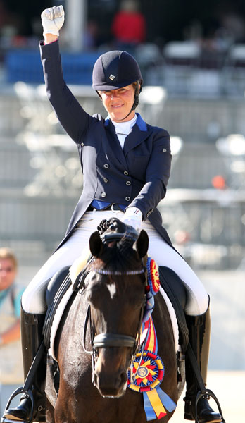 Kimberly Herslow and Rosmarin after winning the 2013 United States Intermediate 1 Championship. © Ken Braddick/dressage-new.com