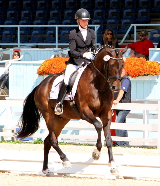 Nadine Buberl and Fashion Designer OLD competing. © 2013 Ken Braddick/dressage-news.com