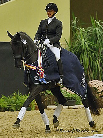 Heather Mason celebrating one of her two US Dressage Finals titles.© 2013 SusanJStickle.com