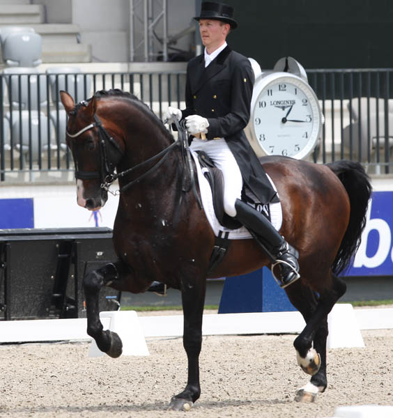 Nintendo being ridden by Thomas Sigtenbjerggaard of Denmark at the Rotterdam CHIO in June. © 2013 Ken Braddick/dressage-news.com
