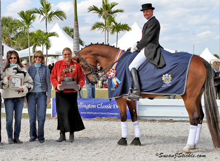 Maryanne McPhail (2nd from left) at the award of the Palm Beach Dressage Derby Perpetual Trophy for the winner of the CDI-W Grand Prix Freestyle. © 2013 SusanJStickle.com