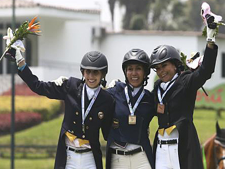 Bolivarian Games dressage individual medalsts Diana Rey (gold) and Radme Mahamud (silver) of Colombia and Margarita Cebeira (bronze) of Guatemala.