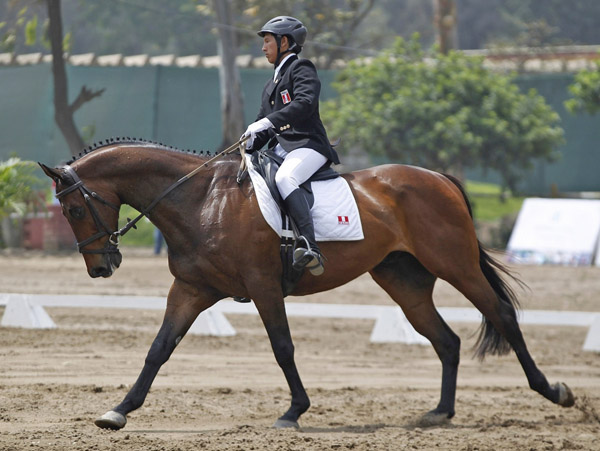 Peru's Diego Farje riding Chikan in eventing dressage at the Bolivarian Games.'