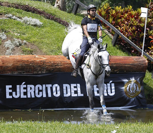 Ecuador's David Meza Gonzalo on Laval Blue in the Bolivarian Games eventing cross country.