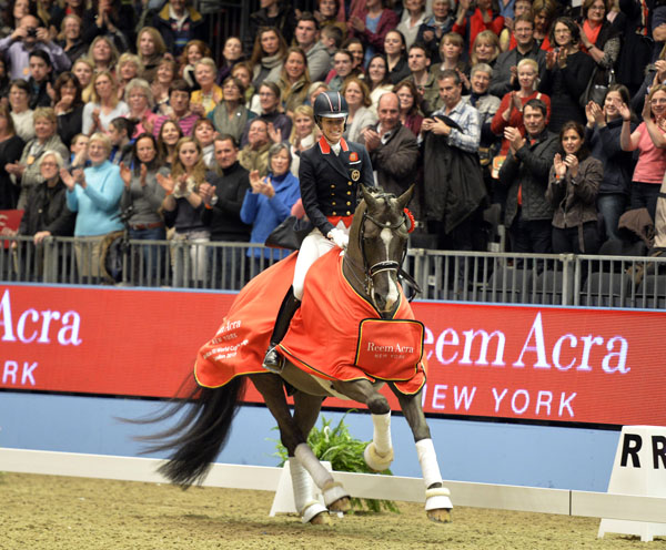 Charlotte Dujardin and Valegro after setting Grand Prix Freestyle world record at London Olympia. © 2013 Kit Houghton/Horsepower