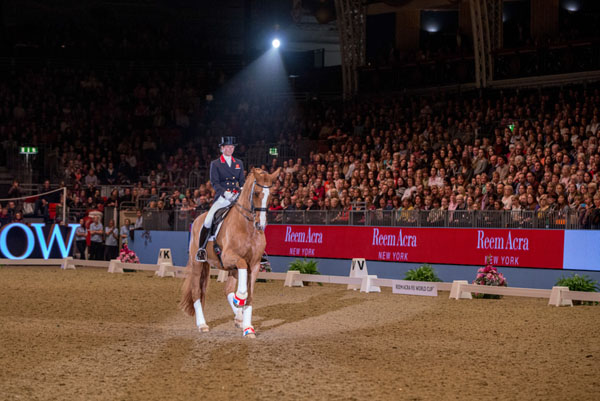 Laura Tomlinson (GBR) retires Mistral Hojris (Alf) at the London International Horse Show © 2013 Jon Stroud