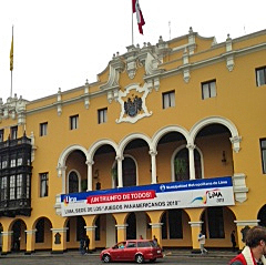 Government offices in Plaza de Armas in the center of Lima with banner declaring the city looks forward to hosting the 2019 Pan American Games. Photo: Courtesy Roger Haller