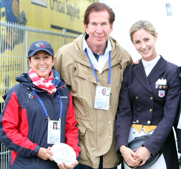 Caroline Roffman with her mother, Andrea, and father, Stuart, at Aachen. © 2013 Ken Braddick/dressage-news.com