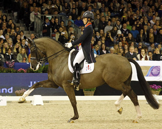 Charlotte Dujardin and Valegro in their winning Freestyle performance at Amsterdam. © 2014 Jenn Abrahamsson/WorldofShowJumping.com