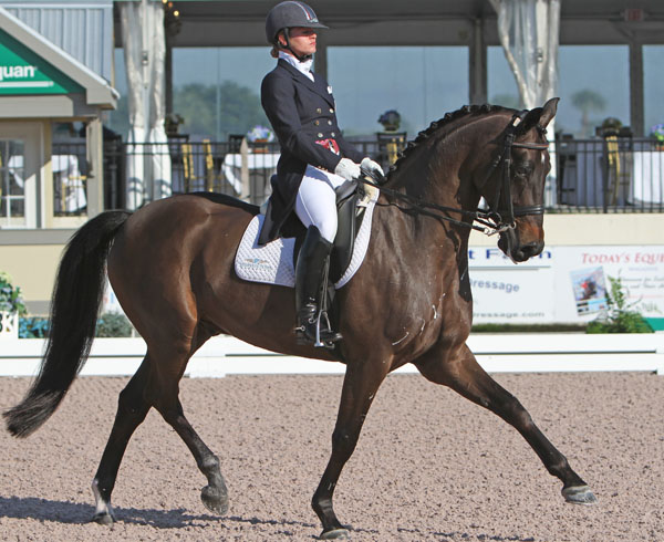 Devon Kane and Destiny competing at the Adequan Global Dressage Festival. © 2014 Ken Braddick/dressage-news.com