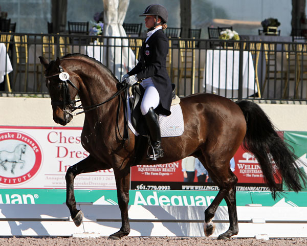 Devon Kane on Destiny in Adequan Global Dressage Festival national Grand Prix. © 2014 Ken Braddick/dressage-news.com