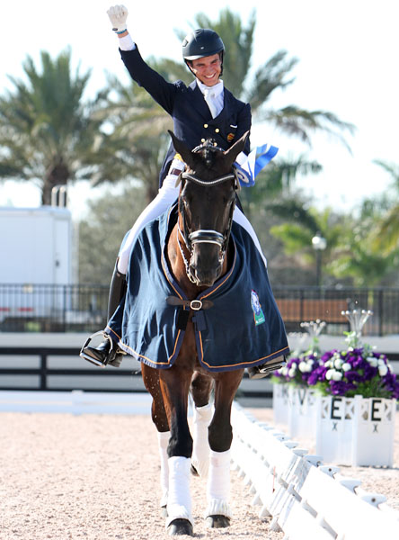 Juan Matute, Jr. riding Don Diego Ymas in a victory celebration at the Global Dressage Festival World Cup even. © 2014 Ken Braddick/dressage-news.com