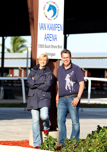 Kimberly Boyer, a daughter of the late American financier Robert van Kampen, at the covered arena her family's foundation funded at the Global Dressage Festival. © 2014 Ken Braddick/dressage-news.com