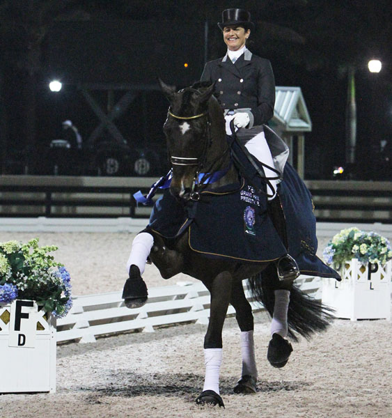 Tinne Vilhelmsson-Silfvén and Don Auriello posting their 30th CDI victory in winning the Wellington World Cup Freestyle. © 2014 Ken Braddick/dressage-news.com