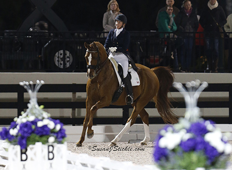 Diane Creech and Devon L on their way to second place at the Global Dressge Festival World up Freestyle. ©2014 SusanJStickle.com
