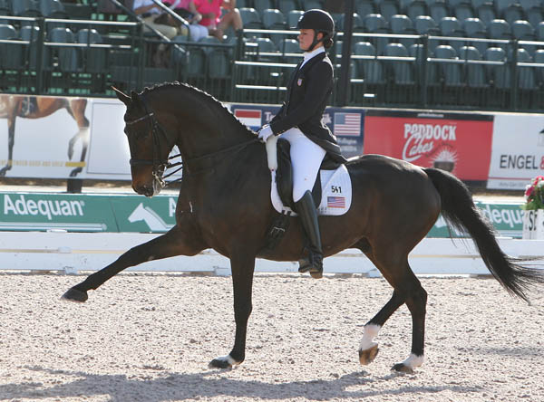Adrienne Lyle and Wizard in the Grand Prix Special at the Wellington Nations Cup. © 2014 Ken Braddick/dressage-news.com