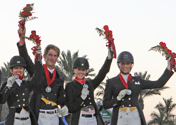 Canada 1 silver medal team of Belinda Trussel, Chris von Martels, Brittany Fraser and Megan Lane. © Ken Braddick/dressage-news.com