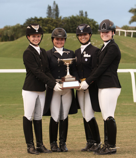 Winners of the four divisions of the Florida International Youth Championship (l to r) Katrina Sadis-Pony; Tanya Strasser-Shostak-Young Rider; Melanie Montagano-Under 25 and Bebe Davis-Junior. © 2014 Ken Braddick/dressge-news.com