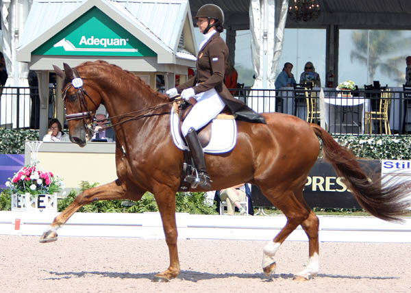 Heather Blitz and Paragon in the Palm Beach Dewrby Grand Prix. © 2014 Ken Braddick/dressage-news.com