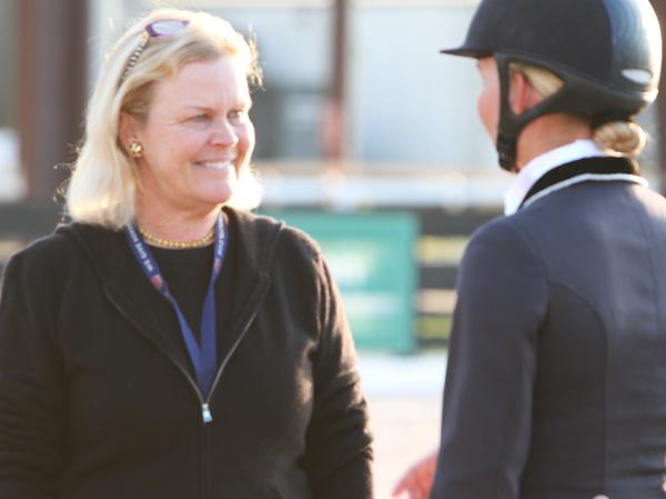 Jane Forbes Clark talking with Katherine Batson-Chandler after Wellnetta's first CDI Grand Prix. ©2014 Ken Braddick/dressage-news.com
