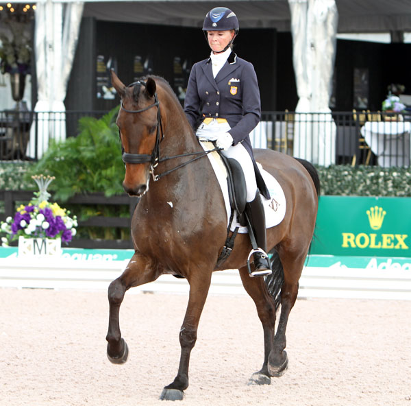 Katherine Bateson-Chandler on Wellnetta in the Adequan Global Dressage Festival CDI3* Grand Prix. © 2014 Ken Braddick/dressage-news.com