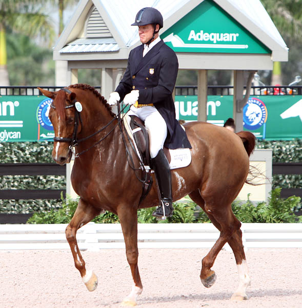 Michael Barisone riding Ellegria in the Wellington CDI3*. © 2014 Ken Braddick/dressage-news.com