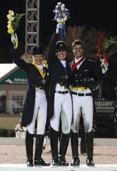 Nations Cup Freestyle individual medal winners Tine Konyot (bronze), Adrienne yle (gold) and Juan Matute, Jr.. siver. © 2014 Ken Braddick/dressage-news.com