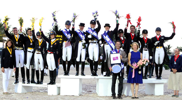 Wellington Nations Cup team medal winners--Spain (bronze), USA 1 (gold) and Canada 1 (silver). © 2014 Ken Braddick/dressage-news.com