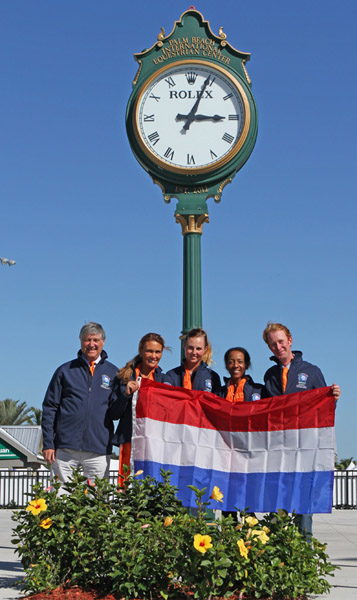 The team from the Netherlands that in the two previous Wellington Nations Cups had not fielded any horses and riders. © 2014 Ken Braddick/dressage-news.com