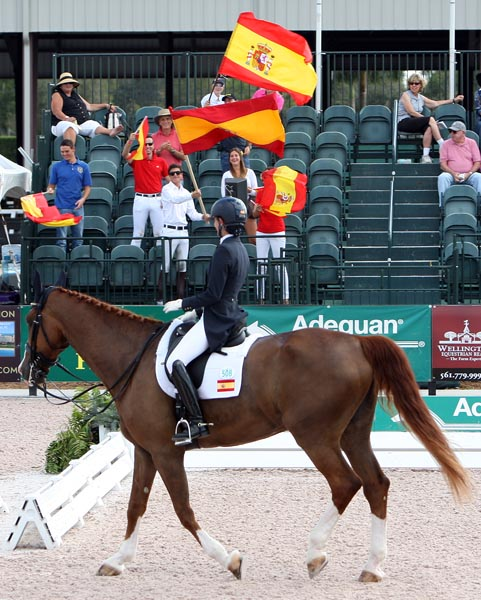 Paula Matute on Tarpan leaving the competition arena with fans waving Spanish flags after their Wellington Nations Cup ride. © Ken Braddick/dressage-news.com