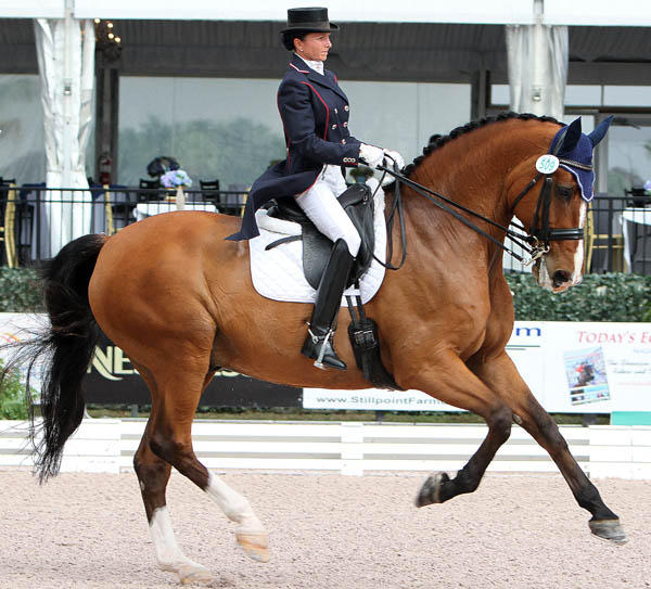 Shawna Harding and Come On III in their return to the Grand Prix arena after almost tw years out of competition due to malaria and Lyme's disease. © 2014 Ken Braddick/dressage-news.com